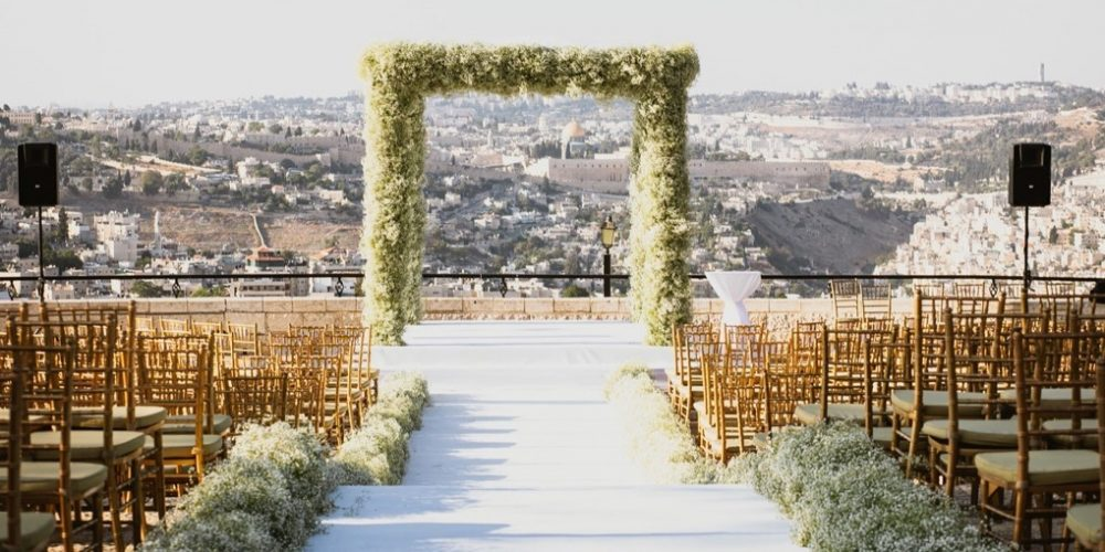 wedding with jerusalem view
